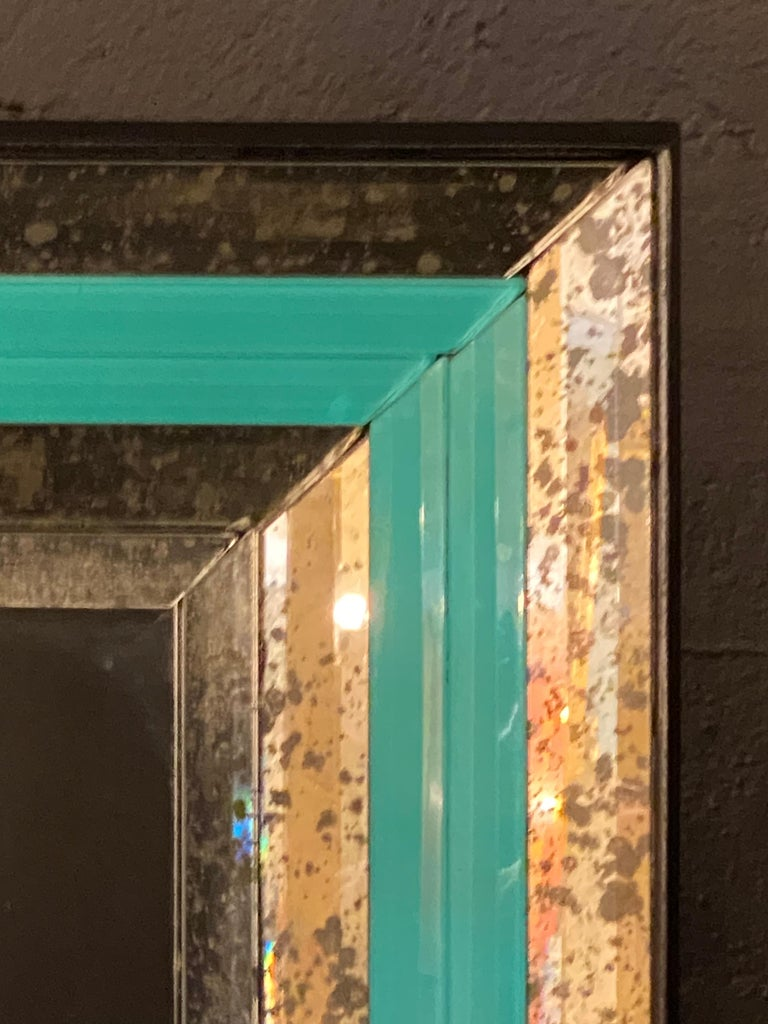 Art Deco Wall, Console or Pier Mirrors with Turquoise Beveled Frames, a Pair For Sale 3