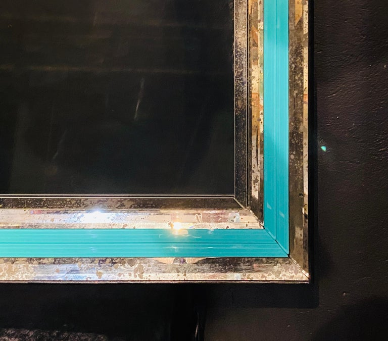Art Deco Wall, Console or Pier Mirrors with Turquoise Beveled Frames, a Pair For Sale 4