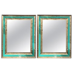 Art Deco Wall, Console or Pier Mirrors with Turquoise Beveled Frames, a Pair
