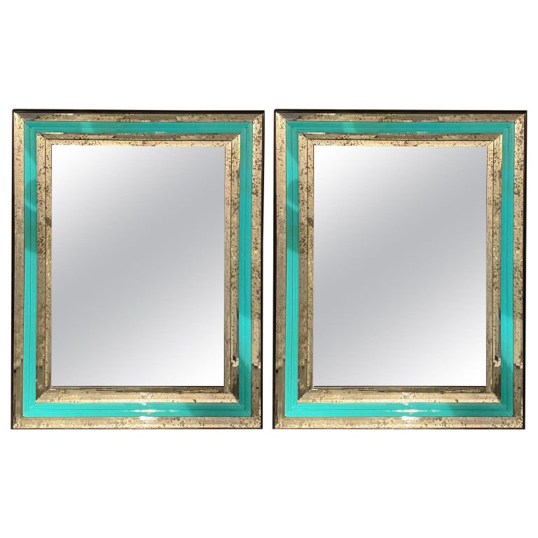 Art Deco Wall, Console or Pier Mirrors with Turquoise Beveled Frames, a Pair For Sale