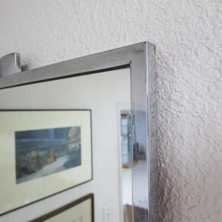 American Art Deco Wall Mirror with Chrome Frame For Sale