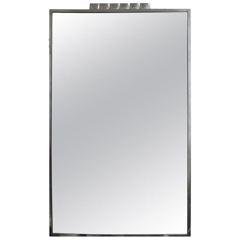 Art Deco Wall Mirror with Chrome Frame For Sale