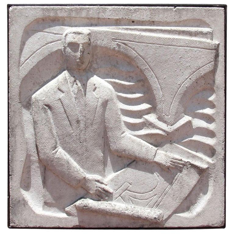 Chuck Dodson Art Deco Wall-Mounted Cast Concrete Plaque