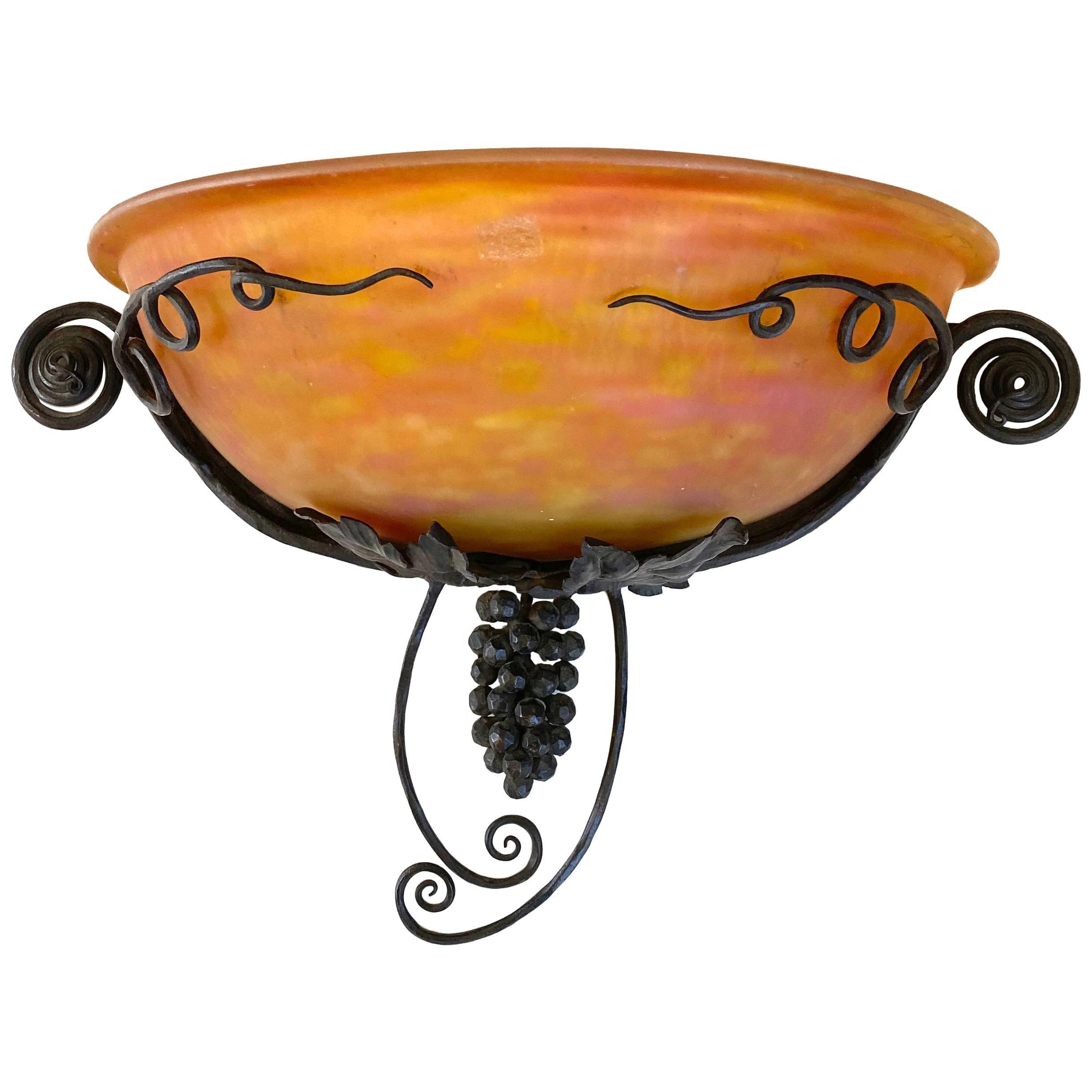 French Art Nouveau Edgar Brandt Style bronze /& hand-blown art glass wall scones
