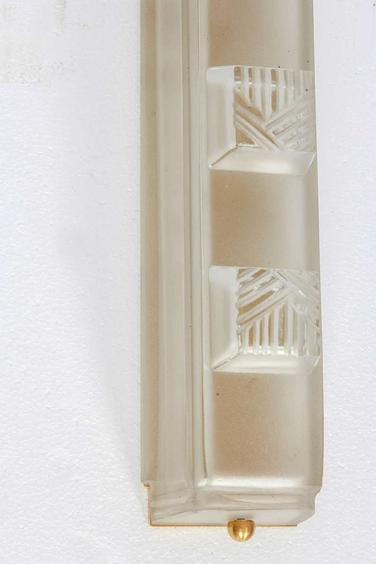 Pressed Art Deco Wall Sconces by Sabino For Sale