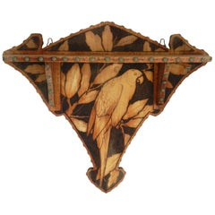 Art Deco Wall Shelf Parrot Wood Pokerwork Pyrogravure, circa 1930