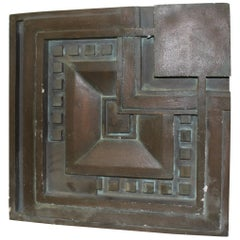Art Deco Wall Tile Cast after Frank Lloyd Wright, Hydrocal, Painted Bronze
