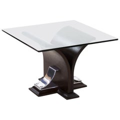 Art Deco Walnut and Aluminum Side Table, 20th Century