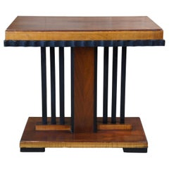 Art Deco Walnut and Ebonized Wood Console Side End Accent Entry Table