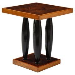 Art Deco Walnut and Ebonized Wood Side Table in the Manner of Pierre Legrain