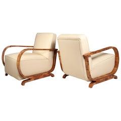 Art Deco Walnut and Leather Armchairs, circa 1930
