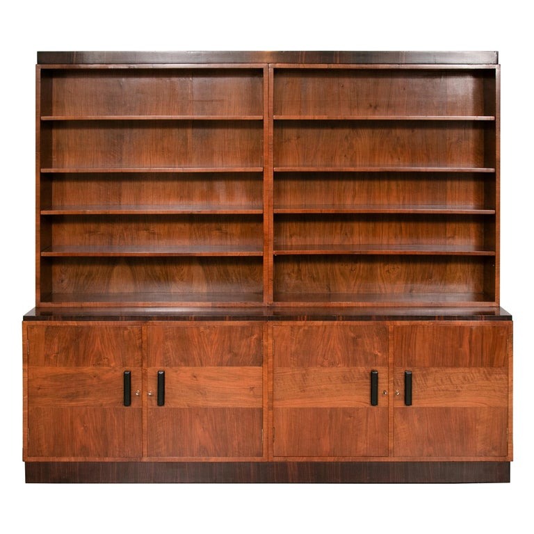Art Deco Walnut and Macassar Bookcase with Cupboard Base and Open Shelf Top For Sale
