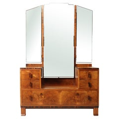 Art Deco Walnut and Macassar Dressing Table by Waring and Gillows, c1930