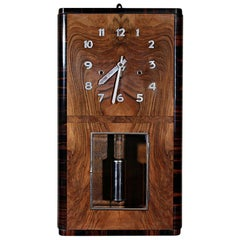 Art Deco Walnut and Macassar Wall Clock, circa 1930