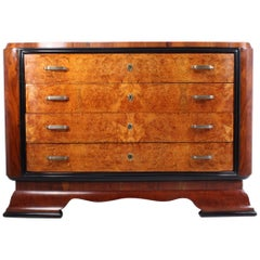 Art Deco Walnut and Maple Commode, Italian, 1930
