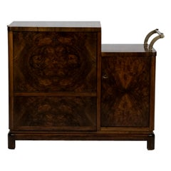 Art Deco Walnut Bar Cabinet or Side Table, 1930s