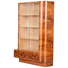 Art Deco Walnut Bookcase from Czechia 'Bohemia' by Jindrich Halabala, 1930s