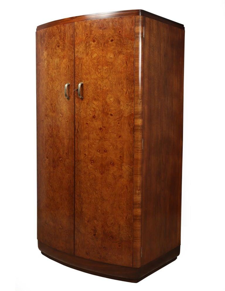 English Art Deco Walnut Bow Front Gentleman Wardrobe, circa 1930