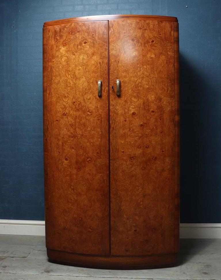 Art Deco Walnut Bow Front Gentleman Wardrobe, circa 1930 In Good Condition In Paddock Wood, Kent