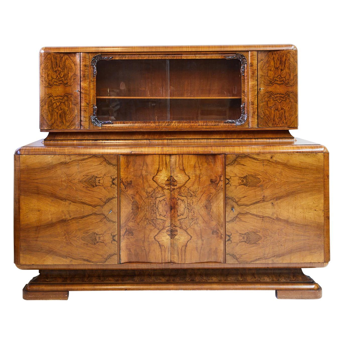 Art Deco Walnut Burl Wood Sideboard or Bar Cabinet