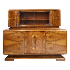 Art Deco Walnut Burl Wood Sideboard or Bar Cabinet