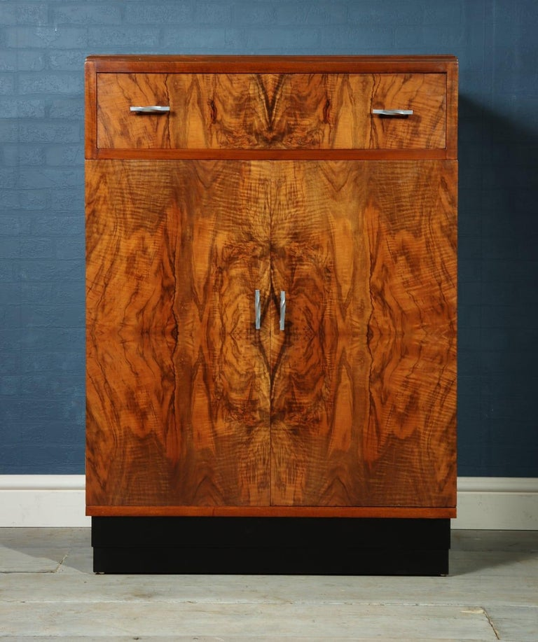 Mid-20th Century Art Deco Walnut Cabinet, circa 1930 For Sale