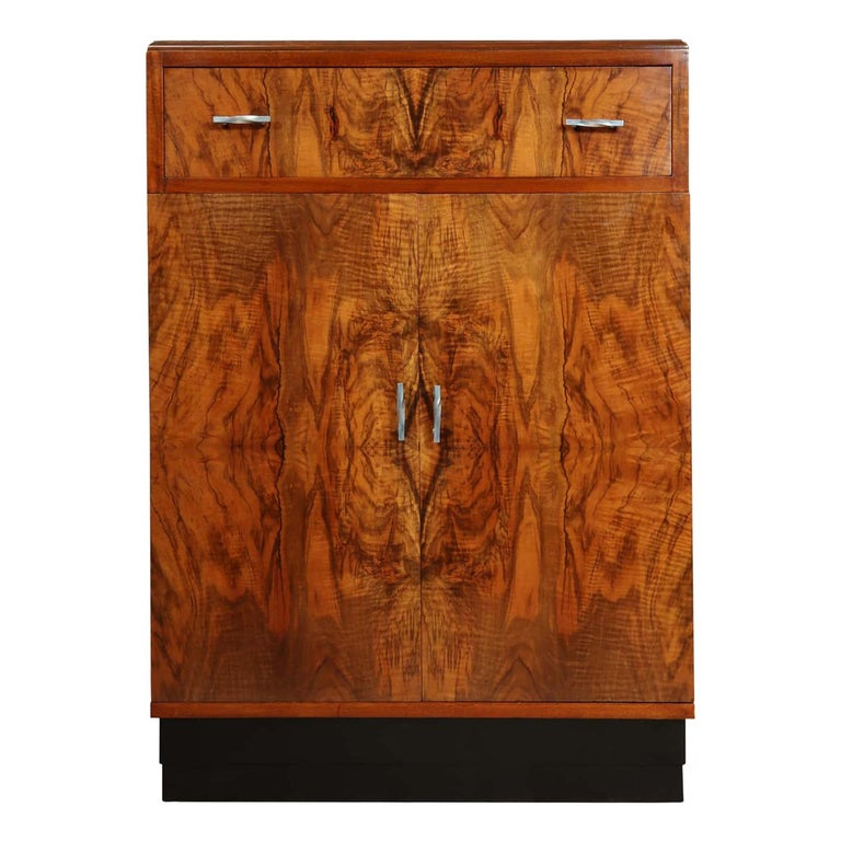 Art Deco Walnut Cabinet, circa 1930 For Sale