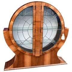 Art Deco Walnut Circular Display Cabinet, Vitrine, circa 1930s