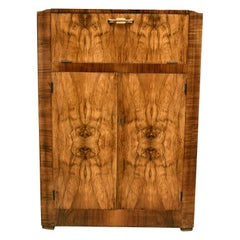 Art Deco Walnut Cocktail Cabinet Bar, English, circa 1930