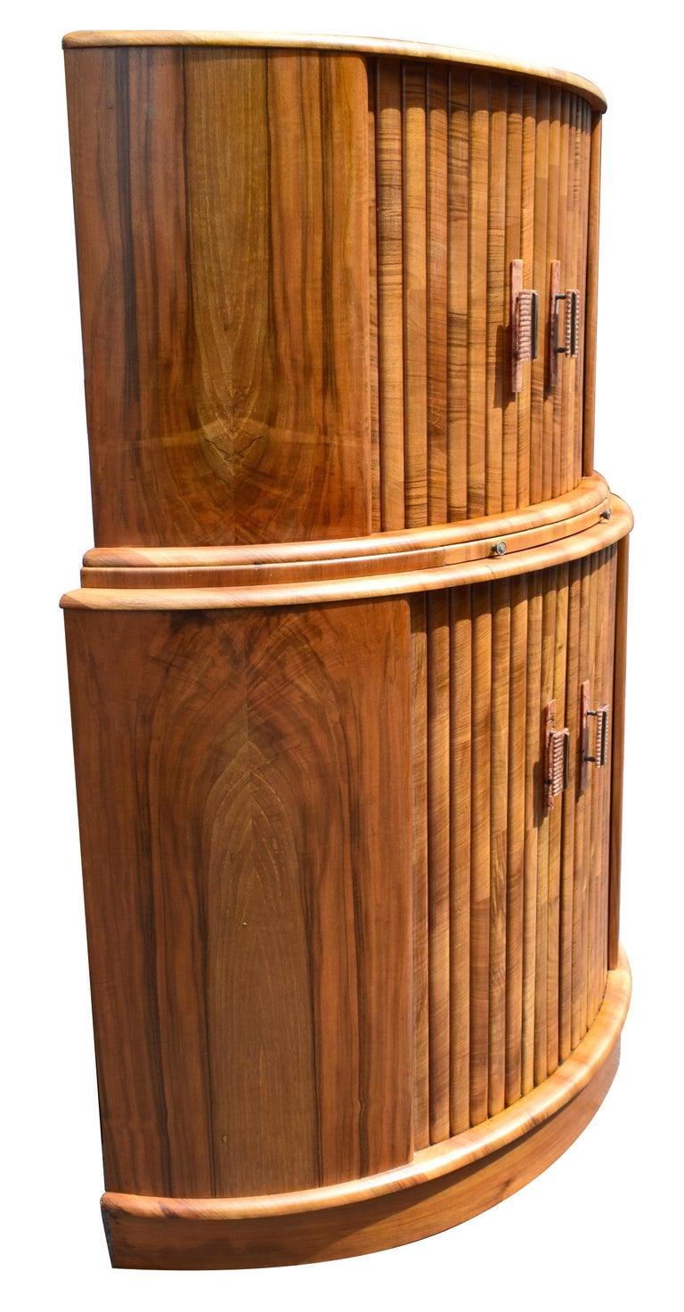 English Art Deco Walnut Cocktail Cabinet, circa 1930 For Sale