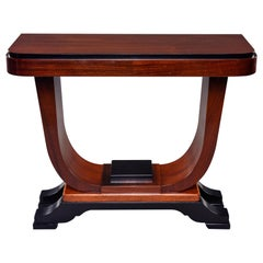 Art Deco Walnut Console with Ebonized Detailing