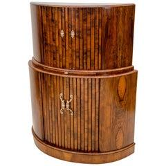 Art Deco Walnut Demilune Cocktail Bar Cabinet