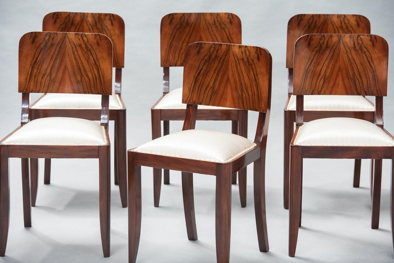 French Art Deco Walnut Dining Chairs, Set of Six For Sale