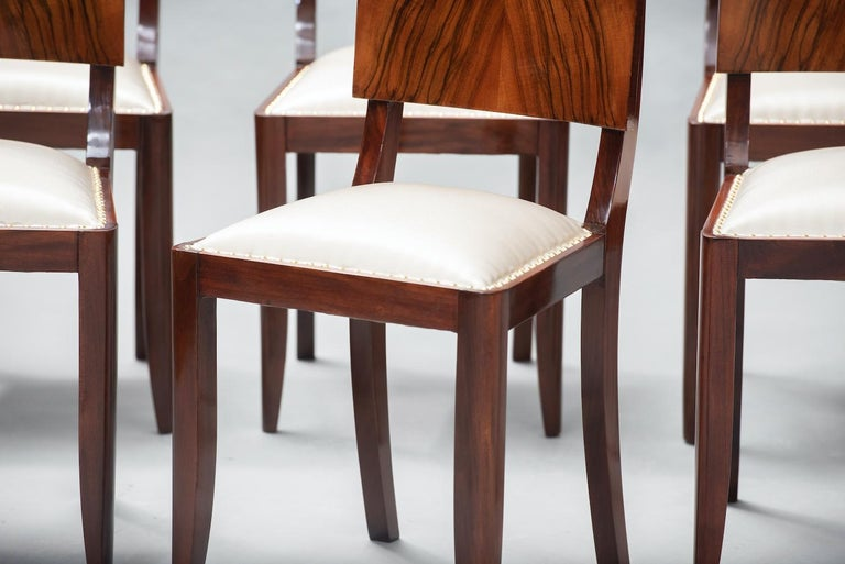 Varnished Art Deco Walnut Dining Chairs, Set of Six For Sale