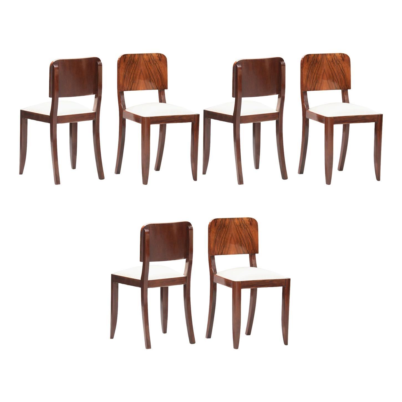 Art Deco Walnut Dining Chairs, Set of Six