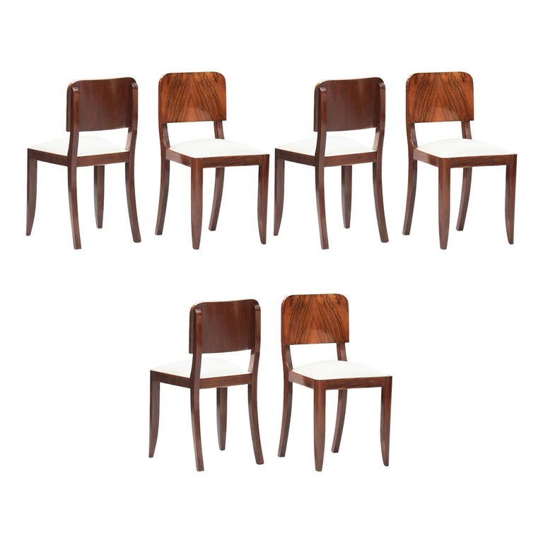 Art Deco Walnut Dining Chairs, Set of Six For Sale