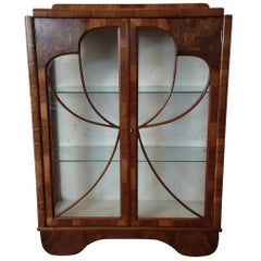 Art Deco Walnut Display Cabinet Bookcase with Butterfly Front