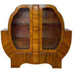 Mid-Century Modern Art Deco Walnut Display Case, English, ca. 1935