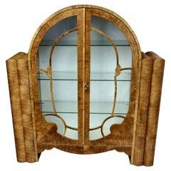 Art Deco Walnut Display Vitrine Cabinet, circa 1930s