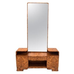 Art Deco Walnut Dressing Table with Mirror, Poland, 1940s