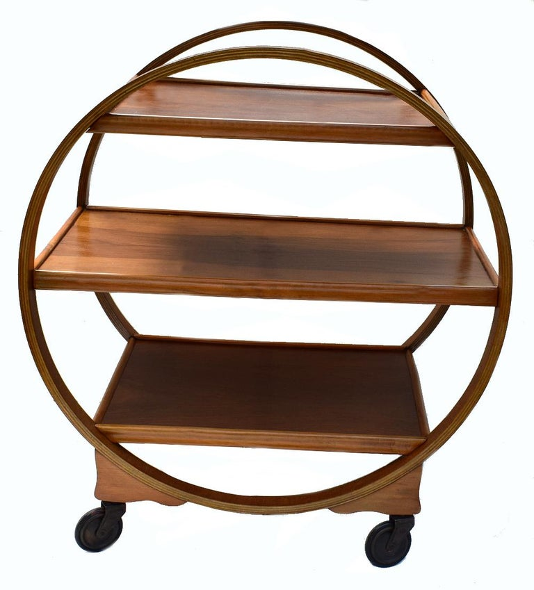 Art Deco Walnut English Circular Drinks Trolley Cart, circa 1930s In Excellent Condition For Sale In Devon, England