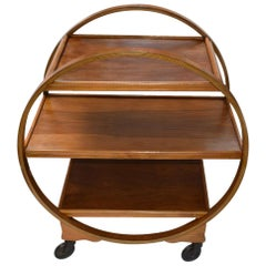 Art Deco Walnut English Circular Drinks Trolley Cart, circa 1930s