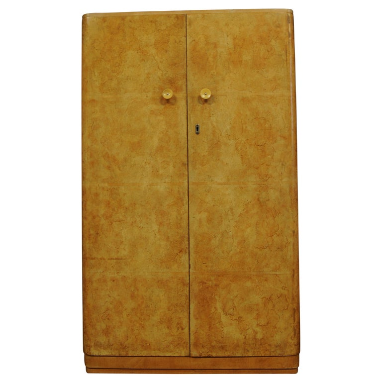 Art Deco Walnut Figured Two-Door Wardrobe or Armoire with Original Fittings For Sale