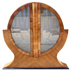 Art Deco Walnut & Glass Circular Display Cabinet, Vitrine, Circa 1930s