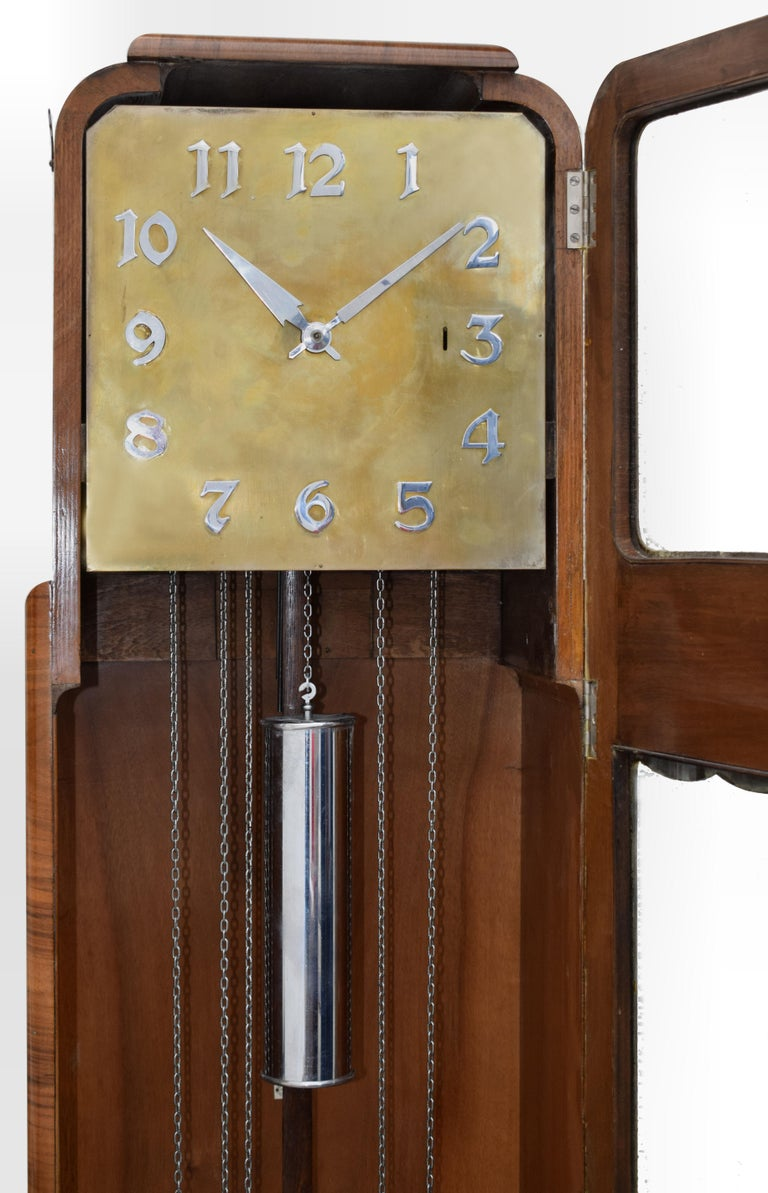 20th Century Art Deco Walnut Grandfather Clock, England, circa 1930 For Sale