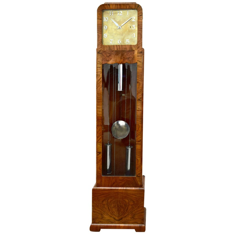 Art Deco Walnut Grandfather Clock, England, circa 1930 For Sale
