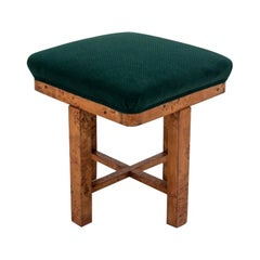 Art Deco Walnut Green Stool from 1940