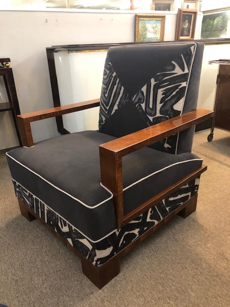 Fabric Art Deco Walnut Hungarian Armchairs For Sale