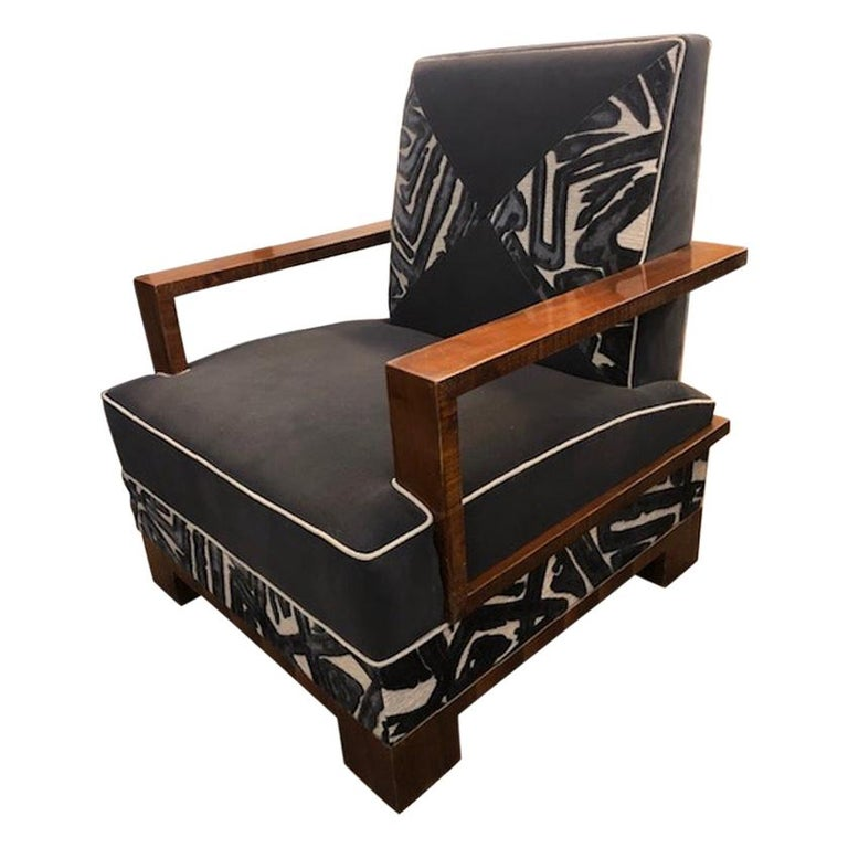 Art Deco Walnut Hungarian Armchairs For Sale