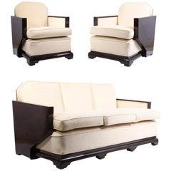 Art Deco Walnut Lounge Suite